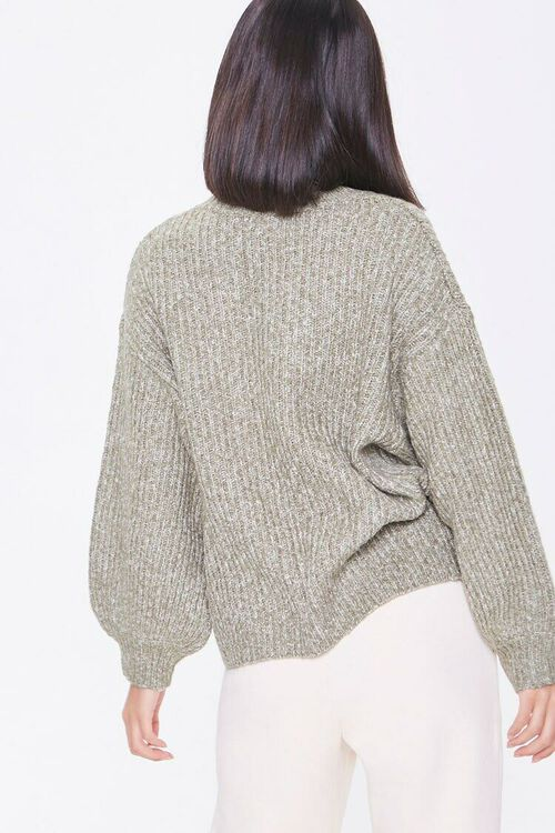 GREEN Ribbed Drop-Sleeve Sweater, image 3