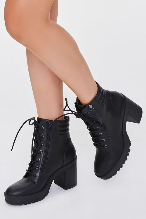 BLACK Faux Leather Block Heel Booties, image 1