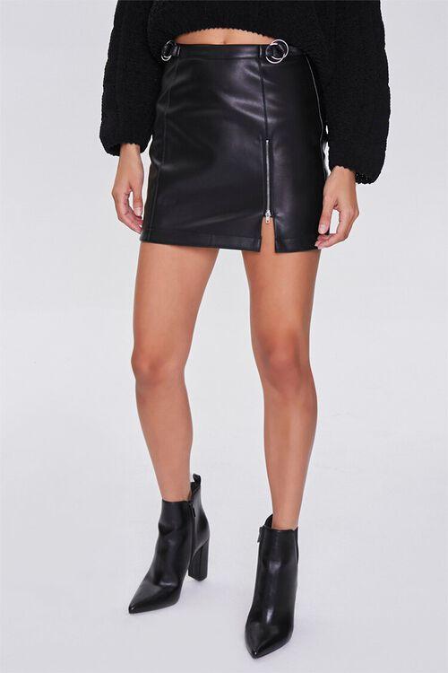 BLACK Faux Leather Mini Skirt, image 2