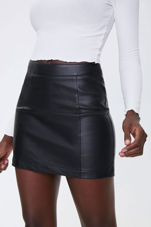 New Forever 21 Mini Skirt Size M Brown Faux Leather Look Back Zipper Casual