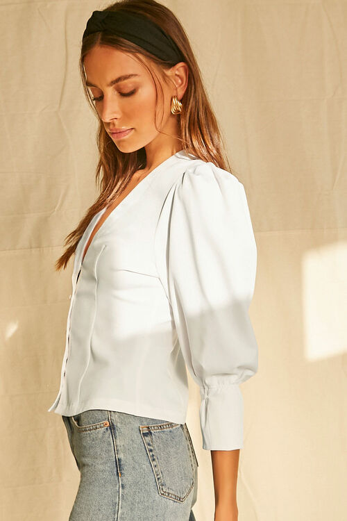 Buttoned Puff-Sleeve Top, image 2