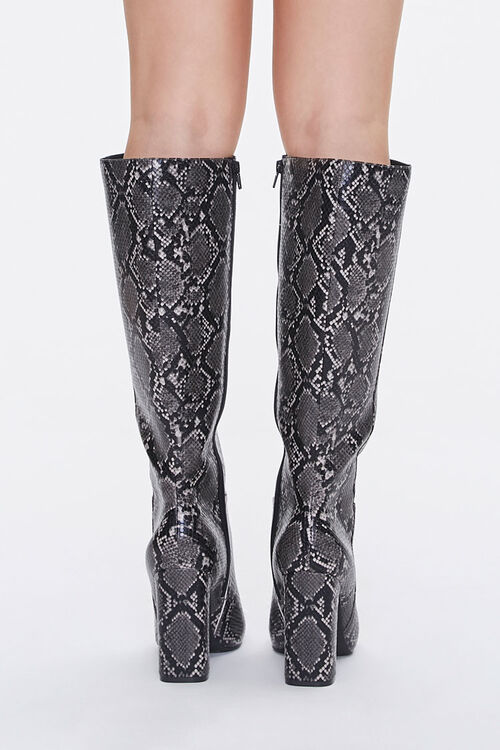 Faux Snakeskin Knee-High Boots, image 3