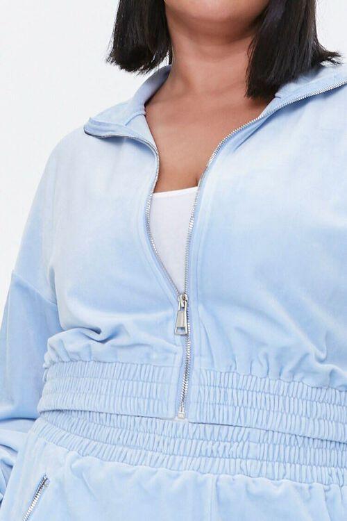 LIGHT BLUE Plus Size Velour Zip-Up Jacket, image 5
