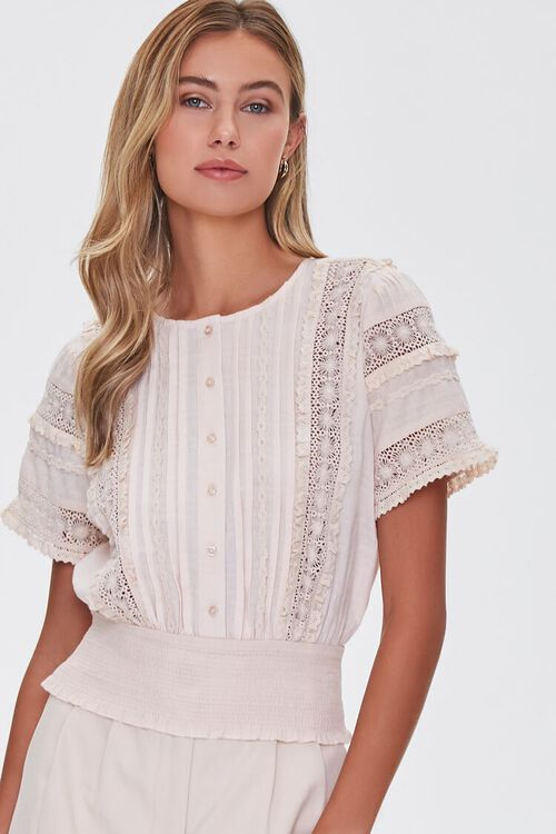 Lace-Trim Pintucked Top, image 1