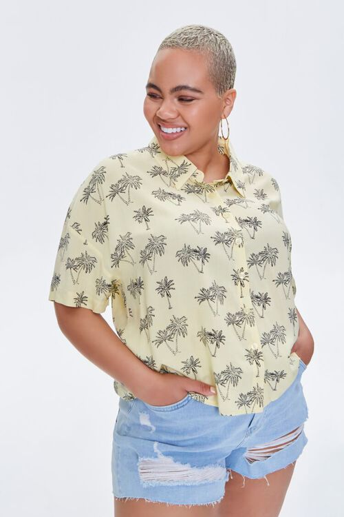 Plus Size Palm Tree Print Shirt, image 1