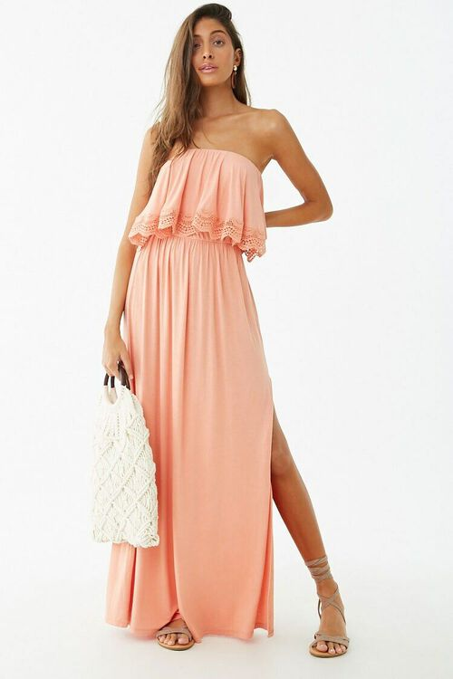 Strapless Crochet-Trim Flounce Dress, image 4