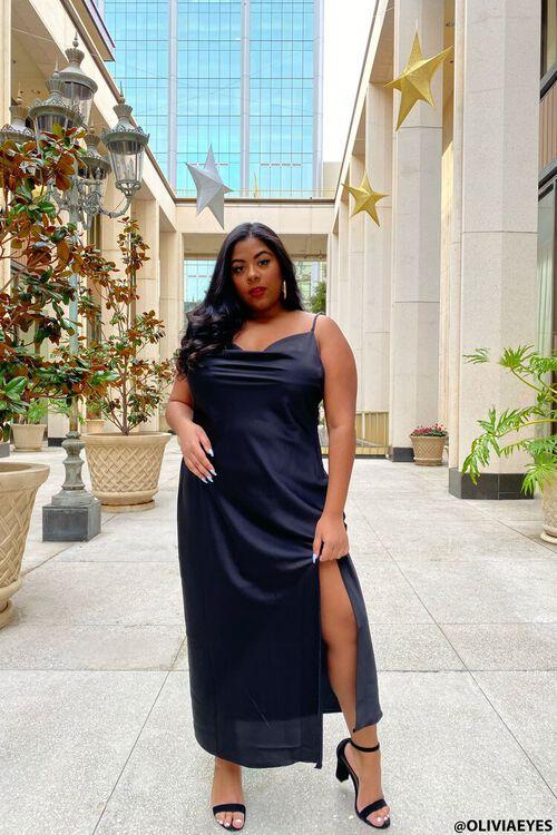 Plus Size Satin Midi Slip Dress, image 1