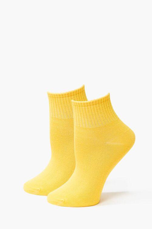 Ribbed-Trim Quarter Socks, image 1