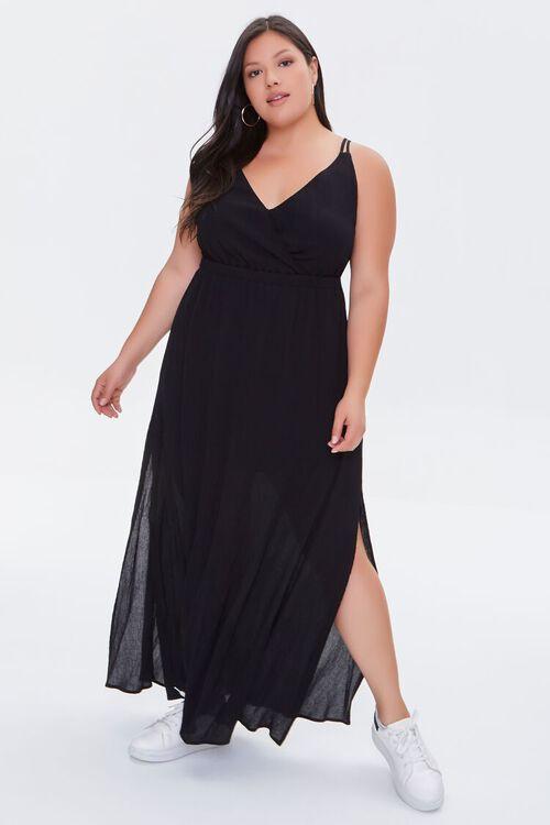 BLACK Plus Size Surplice Cami Maxi Dress, image 4