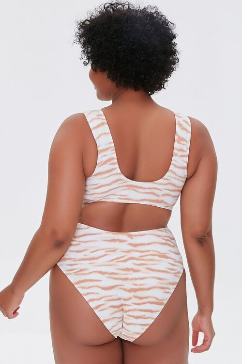 TAN/MULTI Plus Size Tiger Print Twisted One-Piece Swimsuit, image 3