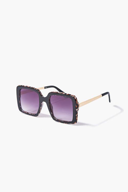 Leopard Print-Trim Square Sunglasses, image 2