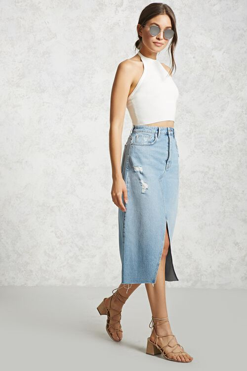 Cropped Ribbed Knit Halter Top, image 4