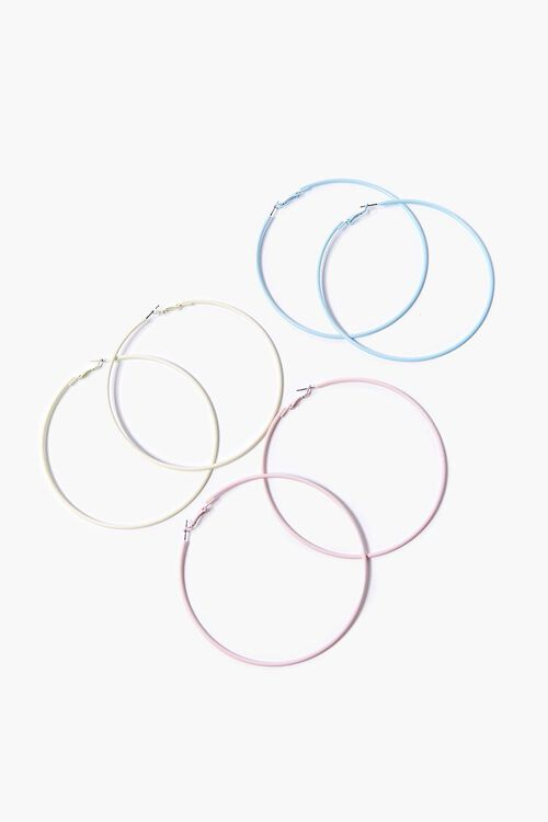 WHITE Matte Hoop Earring Set, image 1