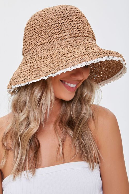 Lace-Trim Basketwoven Bucket Hat, image 2