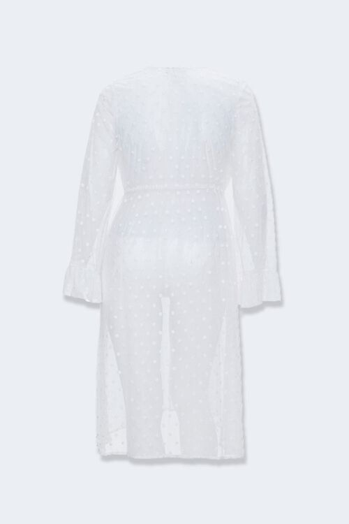 Plus Size Clip Dot Lace Kimono, image 2
