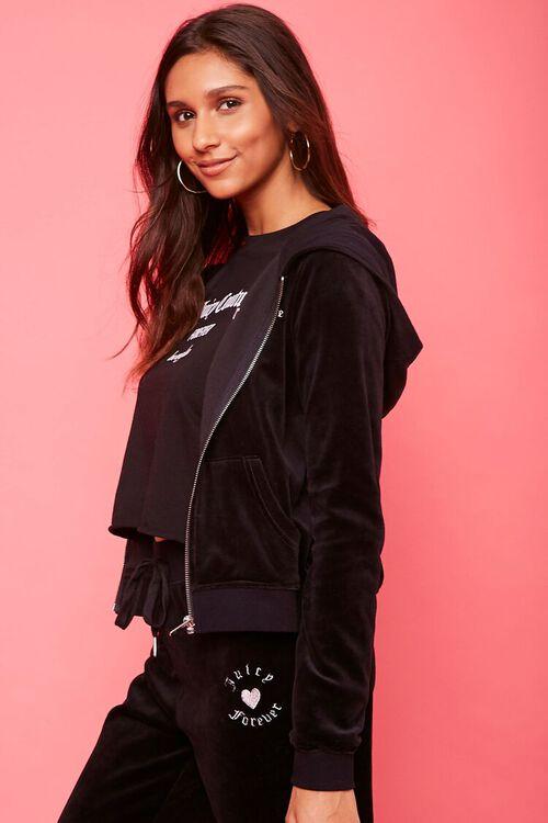 BLACK/SILVER Juicy Couture Velour Zip-Up Jacket, image 2