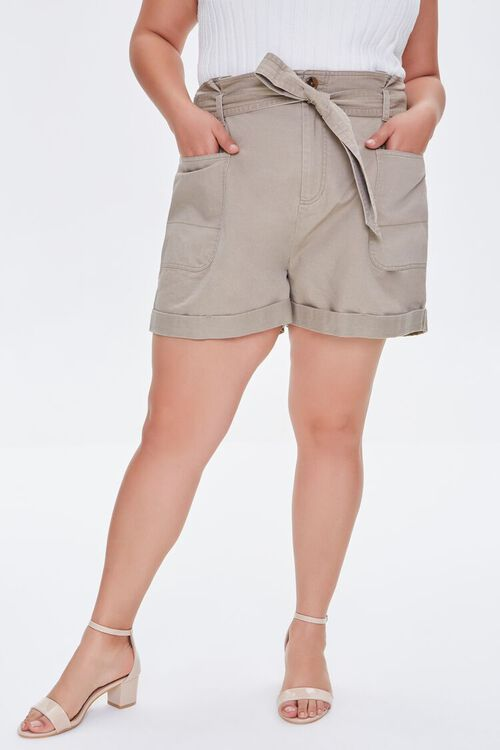 Plus Size Cuffed Tie-Belt Shorts, image 2