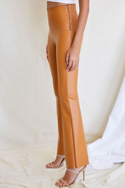 CAMEL Faux Leather Flare Pants, image 3