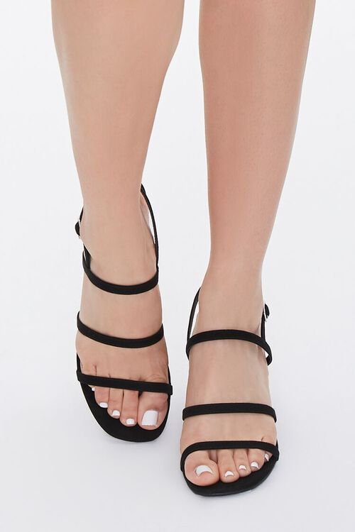 Strappy Faux Leather Block Heels, image 4