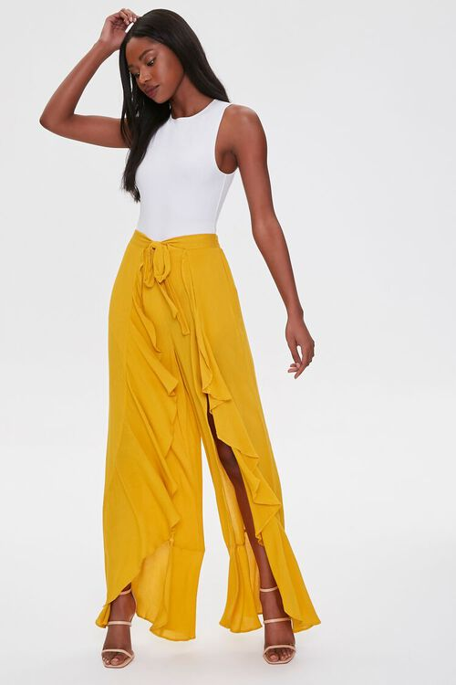 Crinkled Wrap-Front Ruffle-Trim Pants, image 1