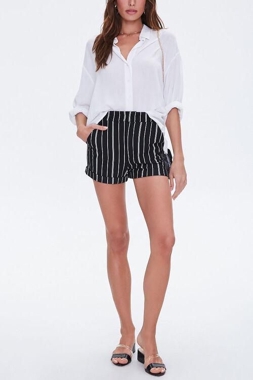 Pinstriped Cuff-Hem Shorts, image 1