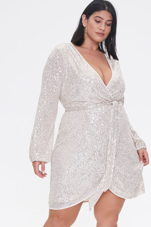 Plus Size Glittered Wrap Dress, image 1