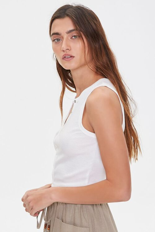 WHITE Ribbed Knit Crop Top, image 2