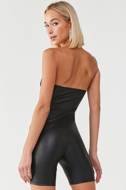 Faux Leather Tube Romper, image 3
