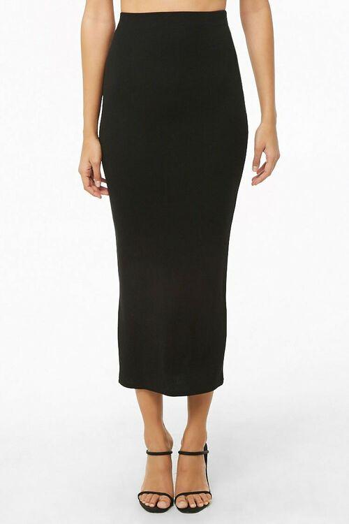 Ribbed High-Rise Midi Skirt, image 1