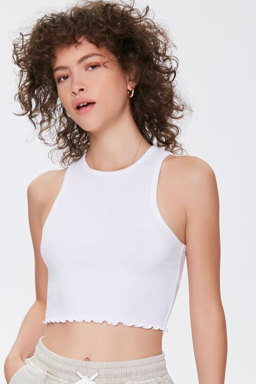 Lettuce-Edge Cropped Tank Top, image 1