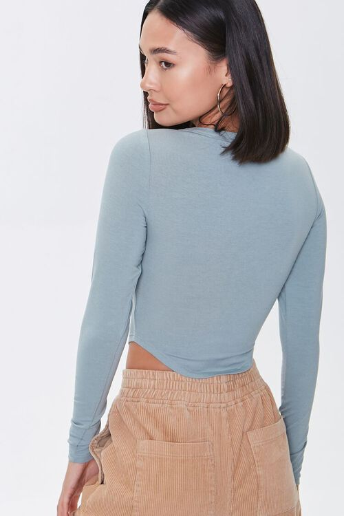 PISTACHIO Cropped Henley Top, image 3