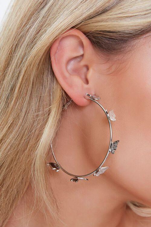 Butterfly Charm Hoop Earrings, image 2