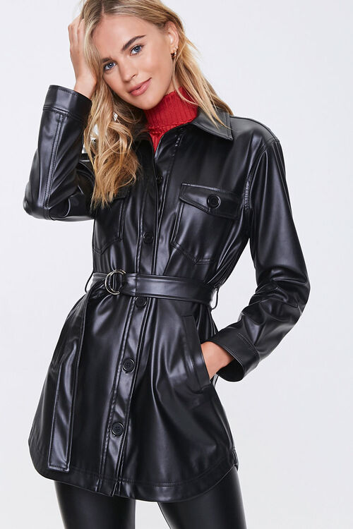 Belted Faux Leather Jacket, image 1