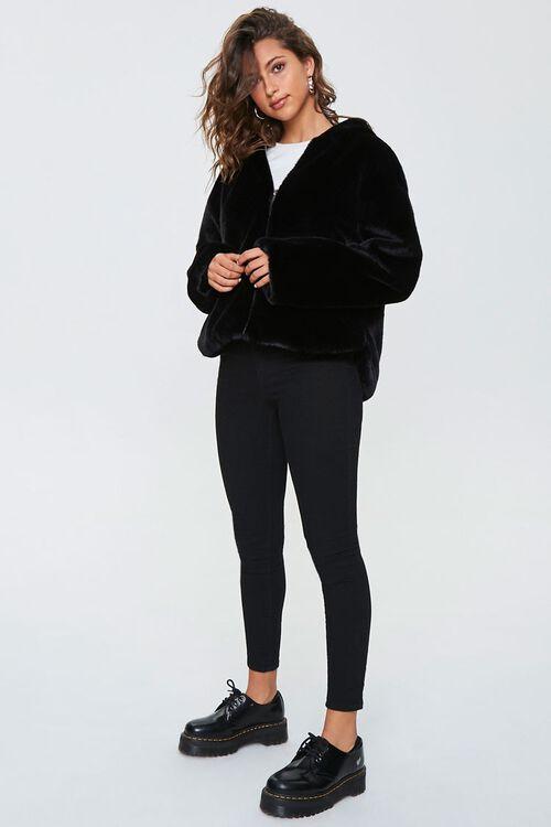 Plush Faux Fur Zip-Up Hoodie, image 4