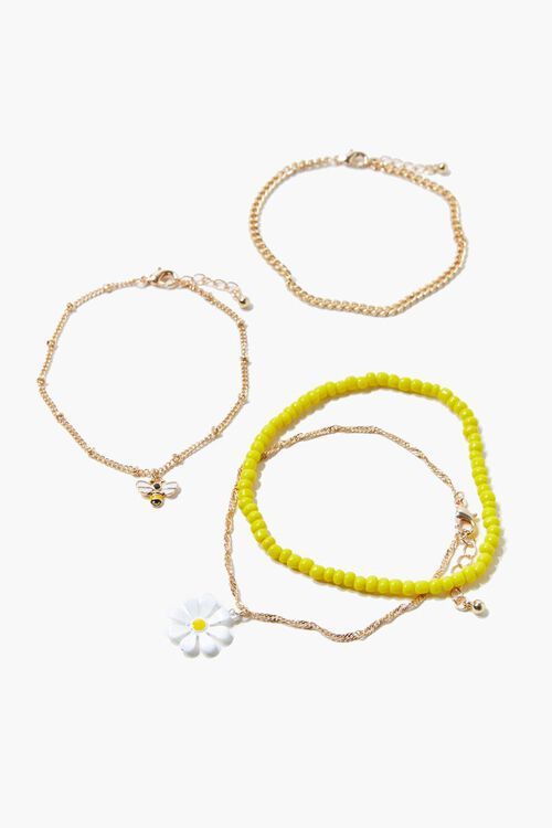 GOLD/MULTI Daisy & Bee Charm Anklet Set, image 2