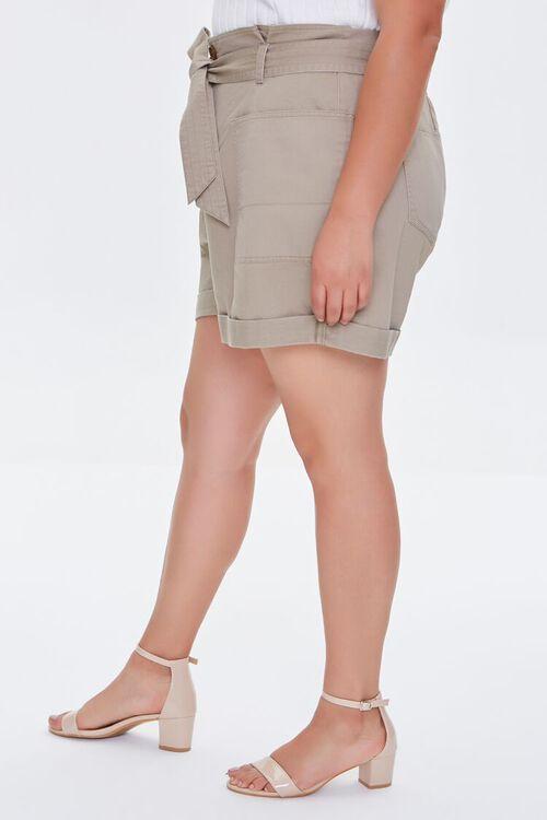 Plus Size Cuffed Tie-Belt Shorts, image 3