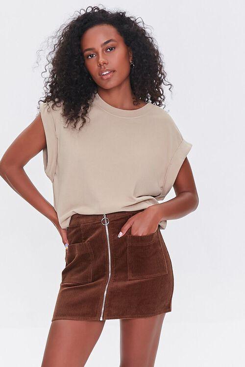 BROWN Corduroy Zip-Front Mini Skirt, image 1