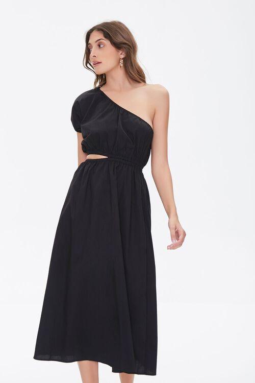 BLACK One-Shoulder Cutout Dress, image 1