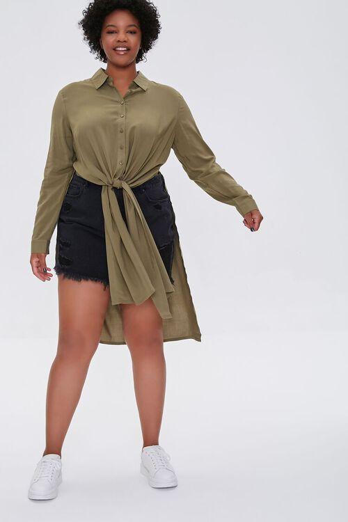 Plus Size Knotted Longline Shirt, image 4