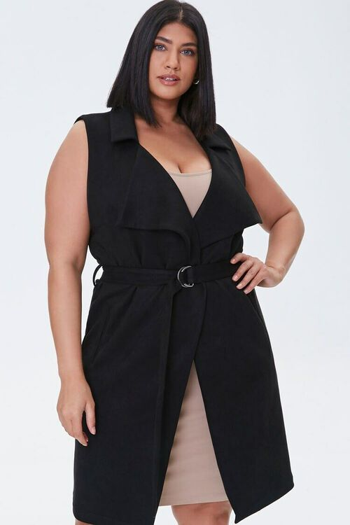 Plus Size Belted Duster Vest, image 1