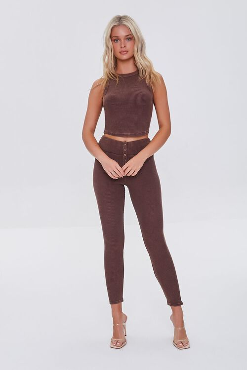 BROWN Waffle Knit Cropped Tank Top, image 4
