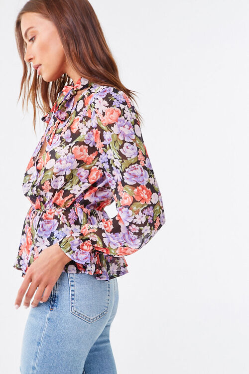 Floral Chiffon Pussycat Bow Top, image 2