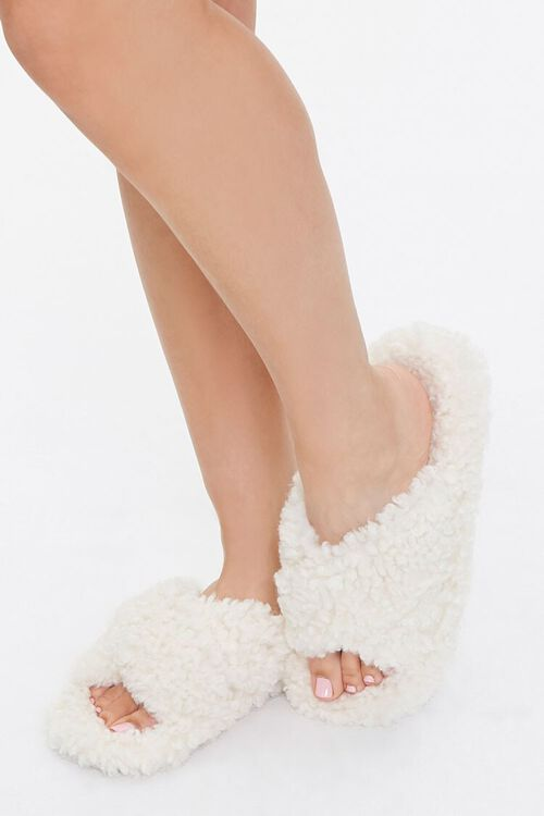 Fuzzy Faux Sheepskin Slippers, image 1