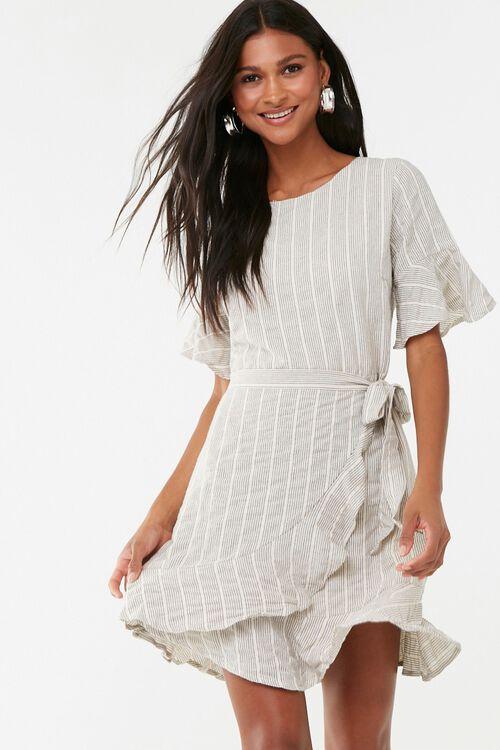 Striped Flounce Wrap-Front Dress, image 1