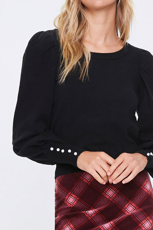 Sweater-Knit Faux Pearl Top, image 5