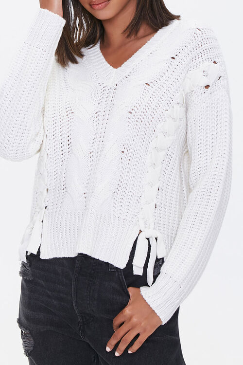 Lace-Up Cable Knit Sweater, image 1