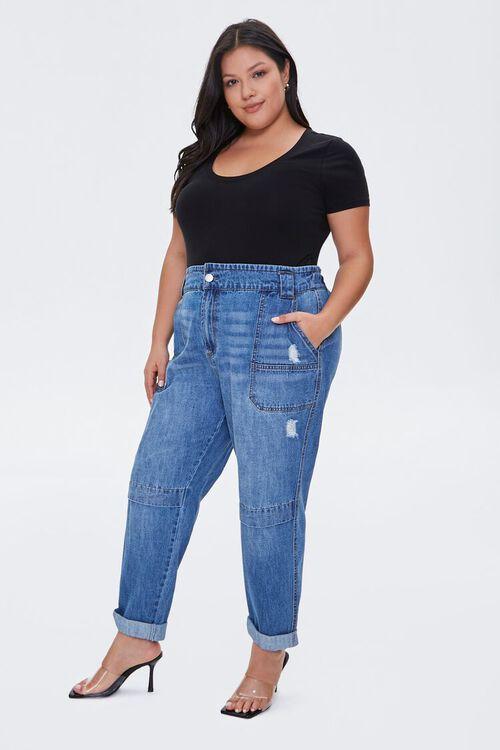 Plus Size Straight-Leg Cuffed Jeans, image 1