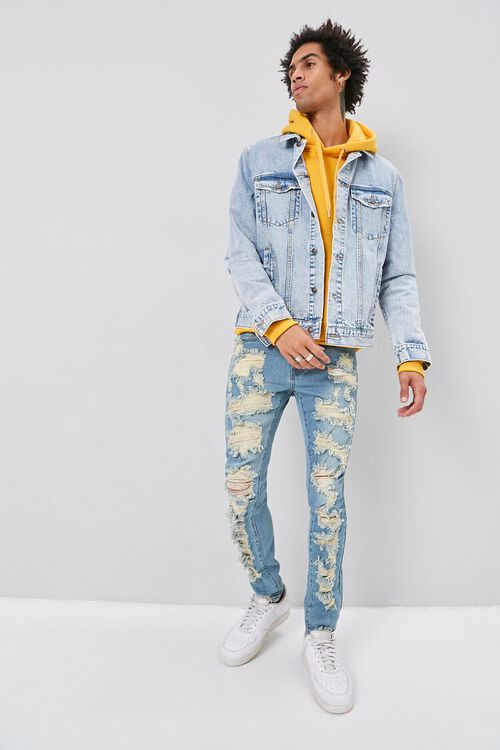 Bleached Distressed Skinny Jeans, image 1