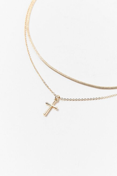 Layered Cross Pendant Necklace, image 2