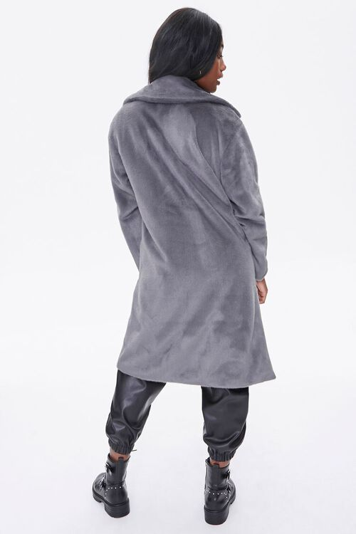Faux Fur Button-Front Trench Coat, image 3